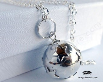 16mm Pregnancy Necklace Mexican Bola Harmony Ball STAR 36 inches Chain 925 Sterling Silver P68CH67