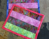 Quilted Mug Rugs -  Lucious Batiks-  Set of 2