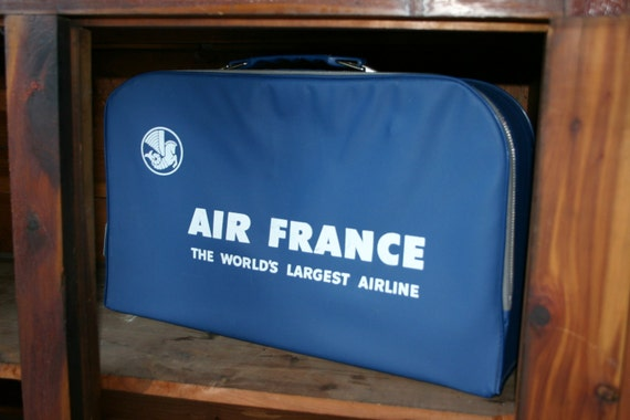 VINTAGE Air France brand soft vinyl sided BLUE small suitcase with FREE shipping