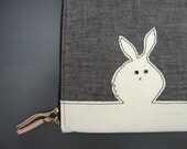 Laptop Case - Custom Size - Black Bunny/White Rabbit