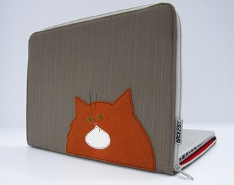 Laptop Case - MacBook or Custom Size - Fat Cat - Grey