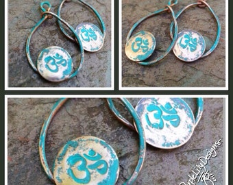 Verdigris Patina Om charms, Copper, PurpleLily Designs