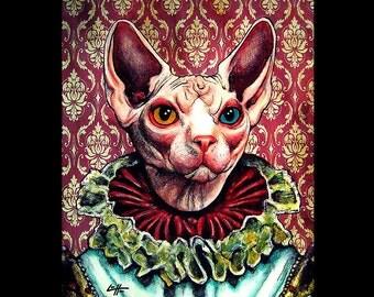 "Print 11x14""- Royal Cat - Queen Animal Kitty Kitties Kittens Hairless Victorian Surreal Fantasy Gothic Dark Art Edwardian Vintage Creature"