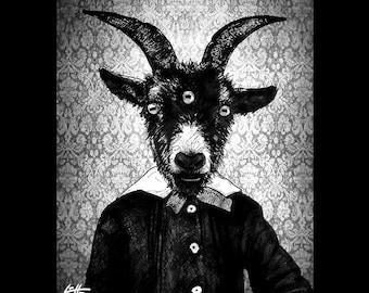 "Print 8x10"" - The Great Goat - Horns Victorian Baphomet Shiva Chakra Dark Art Cute Horror Gothic Monster Animal Creature Satantic Satan Pop"