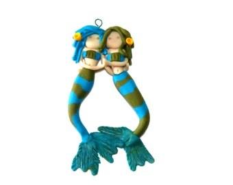 Mermaid ooak ogld Unique hand sculpted Miniature Polymer Clay Hand sculpted PR0855g