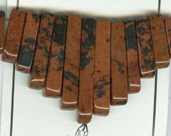 Mahogany Obsidian Mini Cleopatra Collar Fan Graduated 13pc Bead Set