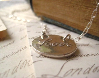 Wax Seal Necklace, Love Pendant, Fine Silver, Heirloom Necklace, SterlingSilver, Handmade Pendant, Sweetheart Gift, Womens Jewelry, candies6