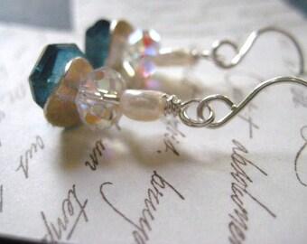 Gemstone Earrings, London BlueTopaz, Sterling Silver, Blue Topaz, London Blue,  Wavy Disc Swarovski elements Freshwater Pearl Fine Silver