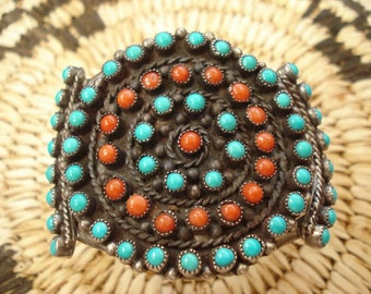 Vintage Zuni Turquoise and Coral Cluster Cuff Bracelet
