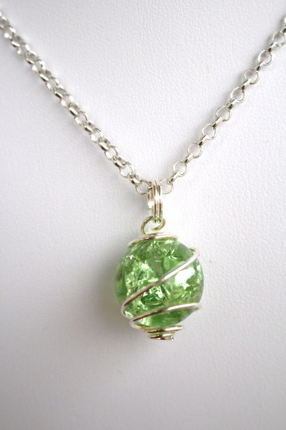 Items similar to green crackled baked glass marble pendant for How to make marble jewelry