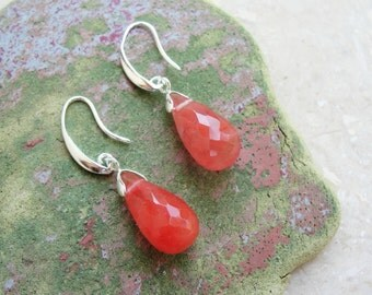 Cherry Quartz Earrings Sterling Silver Pink Stone Jewelry