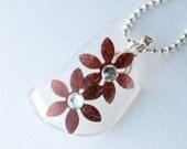 Brown Flower Recycled Glass Necklace, Seaglass, Swarovski Crystal