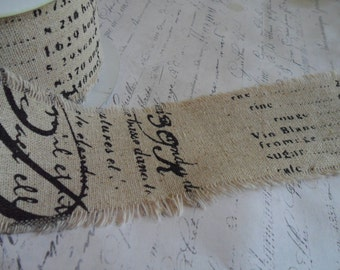 Vintage Script Printed Linen Fabric Ribbon with Frayed Edges, 2.5 inches wide