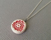 bermuda necklace, blood orange and white ... handmade porcelain jewelry by Sofia Masri