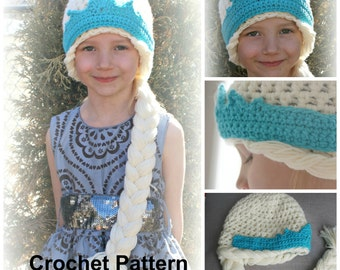 Instant Download QUEEN ELSA Hat Pattern - Crochet Pattern