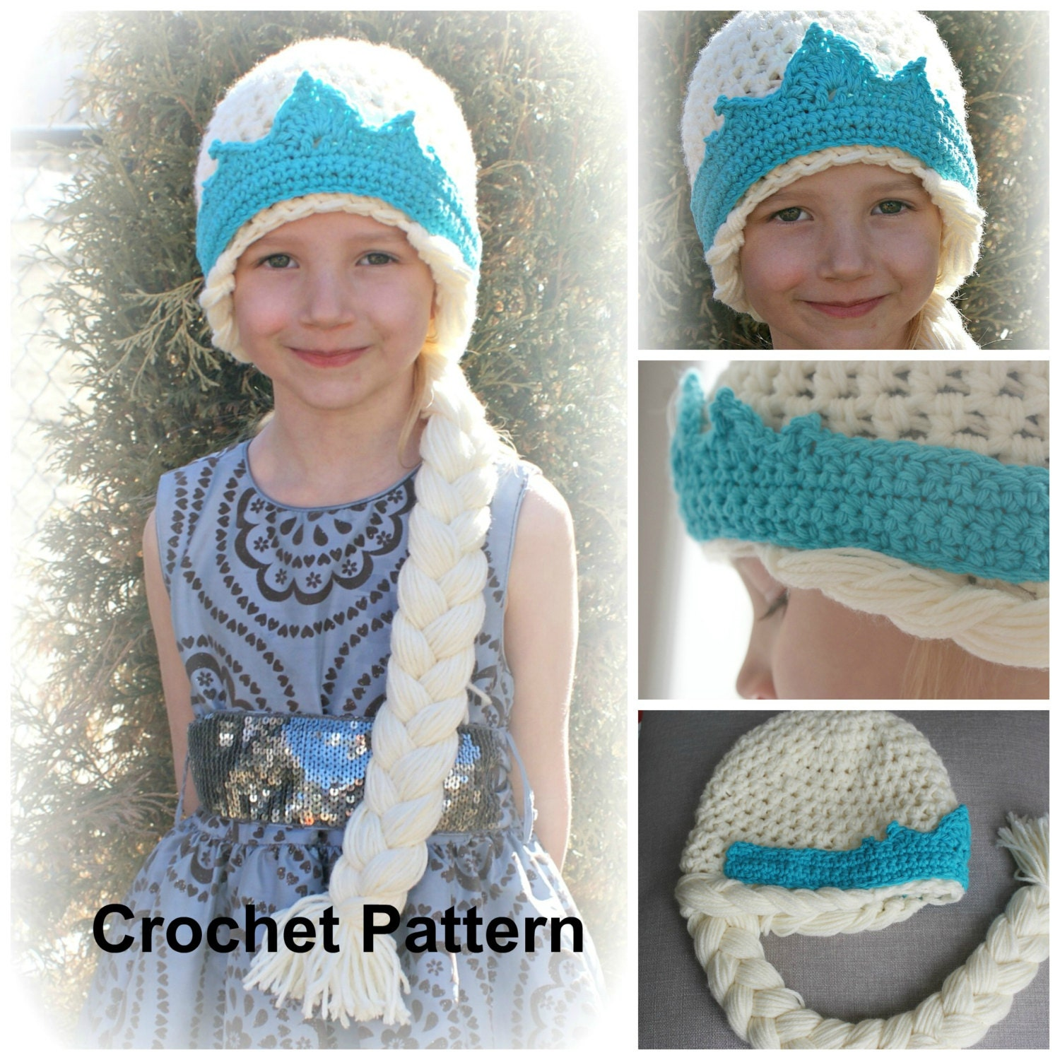 Crochet Hat Pattern For Elsa : Instant Download QUEEN ELSA Hat Pattern Crochet Pattern