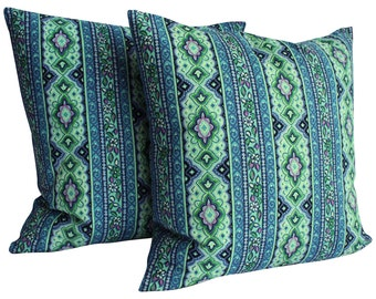 "Mid-Century Pillow Covers - 1960s Fabric Pillow Covers, Pair - Blue Pattern - 20"" - Midcentury Modern"