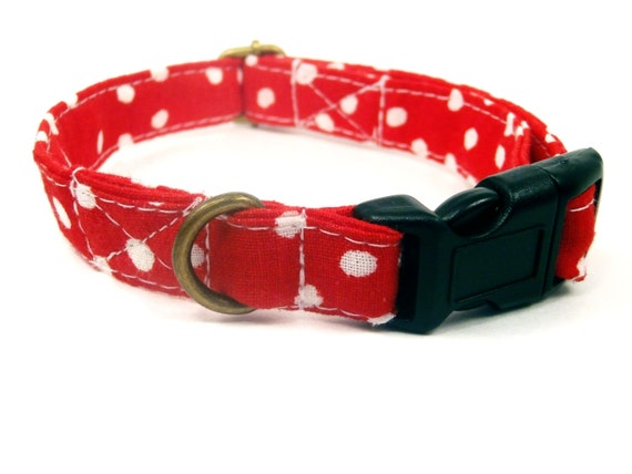 The Lucy -  Organic Cotton Dog Collar - Red White Polka Dots - All Antique Brass Hardware