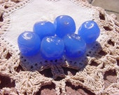 Cornflower Blue Opal Dimpled Vintage Peking Glass Beads