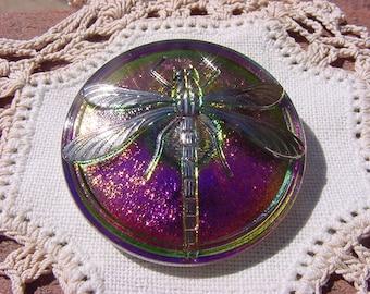 Cherry Lime Shimmer Platinum Dragonfly Czech Glass Button