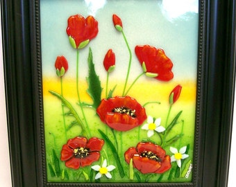 Fused Glass Painting (Red Poppies)