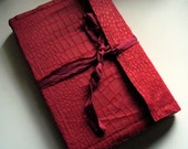Scrapnel Journal: Handmade Recycled Fabric Scrap Blank Journal (red) MARKED DOWN