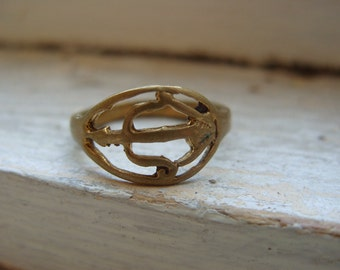 FREE SHIPPING Vintage Brass Ring with Bow and Arrow Design - Size 6 1/2