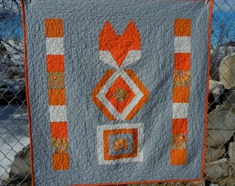 SALE Fox totem baby quilt modern orange and gray