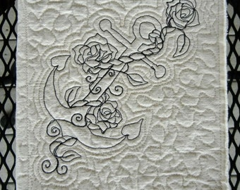 Sale. Blank Fabric art journal. Anchor and roses quilted cover.
