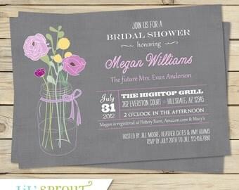 Rustic Floral Bridal Shower Invitation ( Various Color Options)
