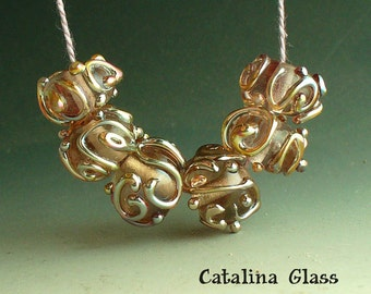 Aurea and Pink Champagne 6 Lampwork beads by Catalina Glass