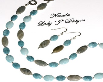 Blue Gray Labradorite and Sky Blue Necklace and Earring Set Oval Beads