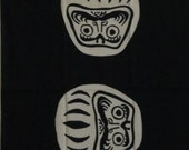 Tenugui Japanese Fabric 'Black Daruma' Motif w/Free Insured Shipping