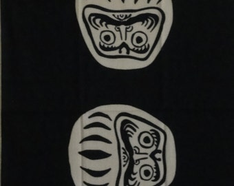 Tenugui Japanese Fabric 'Black Daruma'  Daruma Doll Motif w/Free Insured Shipping