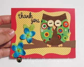 Owl Greeting Card, Owl Thank You Card, Thank You Card, Fabric Owl Card