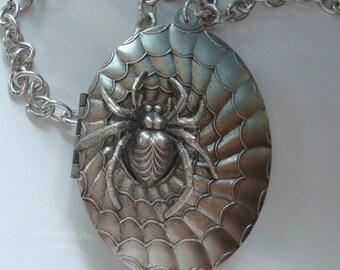 Jewelry, Necklace, Large Silver Spider Locket, Quality Metal Bonded Locket, NOT GLUED Together, Wonderful Detailing, USA Metals, Handmade