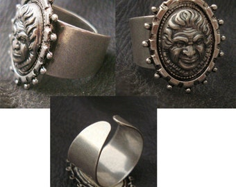 Gothic Ring, The Wise One, A Unique Ring With Vision, Wisdom and Darkness, Sterling Silver Ox, Adjustable, Metal Bonded NOT Glued