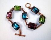 Rhinestone Bracelet, Green Blue and Purple Glass Rhinestones, Brass Beaded Bracelet, FREE Shipping U.S.
