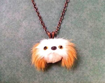 Fun Fur Necklace, Real Rabbit Fur and Copper Pendant Necklace, Brown and White Puppy Face Necklace, FREE Shipping U.S.