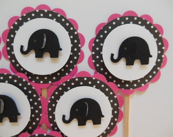 Elephant Cupcake Toppers - Pink with Black and White Polka Dots - Girl Baby Shower Decorations - Girl Birthday Party Decorations - Set of 6