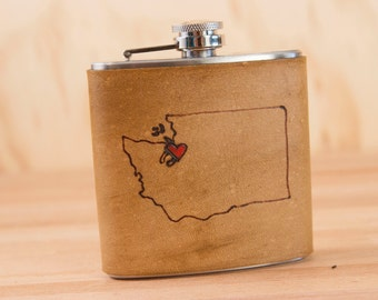 Custom Flask - Leather in the Hometown Pattern with State and Heart - Handmade 6oz Flask