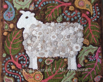 Paisley Sheep Rug Hooking  Hooked Rug PATTERN Hand-drawn on Premium Linen