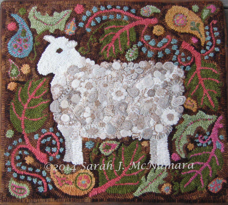Paisley Sheep Rug Hooking Hooked Rug Pattern Hand Drawn On