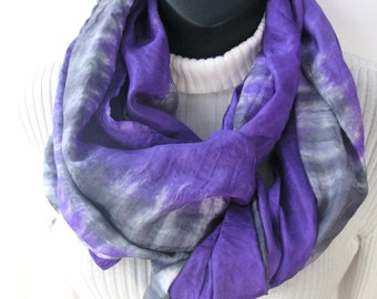 Silk Infinity Scarf for Women-Purple Haze- Purple Scarf Gray Scarf Circular Cowl Hand Dyed Silk Scarf Striped Womens Scarves Gift for her