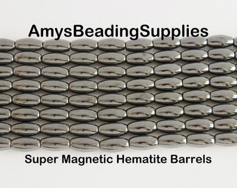 Super Magnetic Hematite Barrels 6x12mm, 16-Inch Strand (34 beads)
