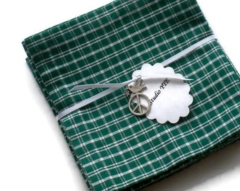 Green, Eco Friendly Cocktail Napkins Appetizer Napkins, Cocktail Beverage Napkins, 100% Cotton Hand stitched - set of 8