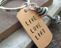 Live Love Lift BARBELL Keychain, pewter barbell charm, weight lifting, fitness, exercise, working out, body building, personal trainer gift