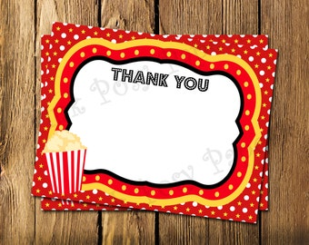 Printable Movie Theme Flat Thank You Note Cards - Instant Download