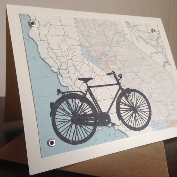 California Bike and Map - Screen-Printed Gocco Art Card