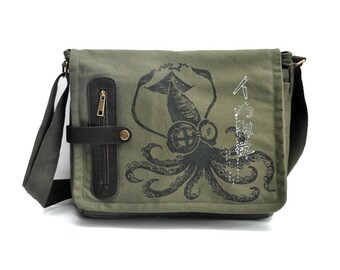 Mad Science Squid messenger bag KHAKI GREEN